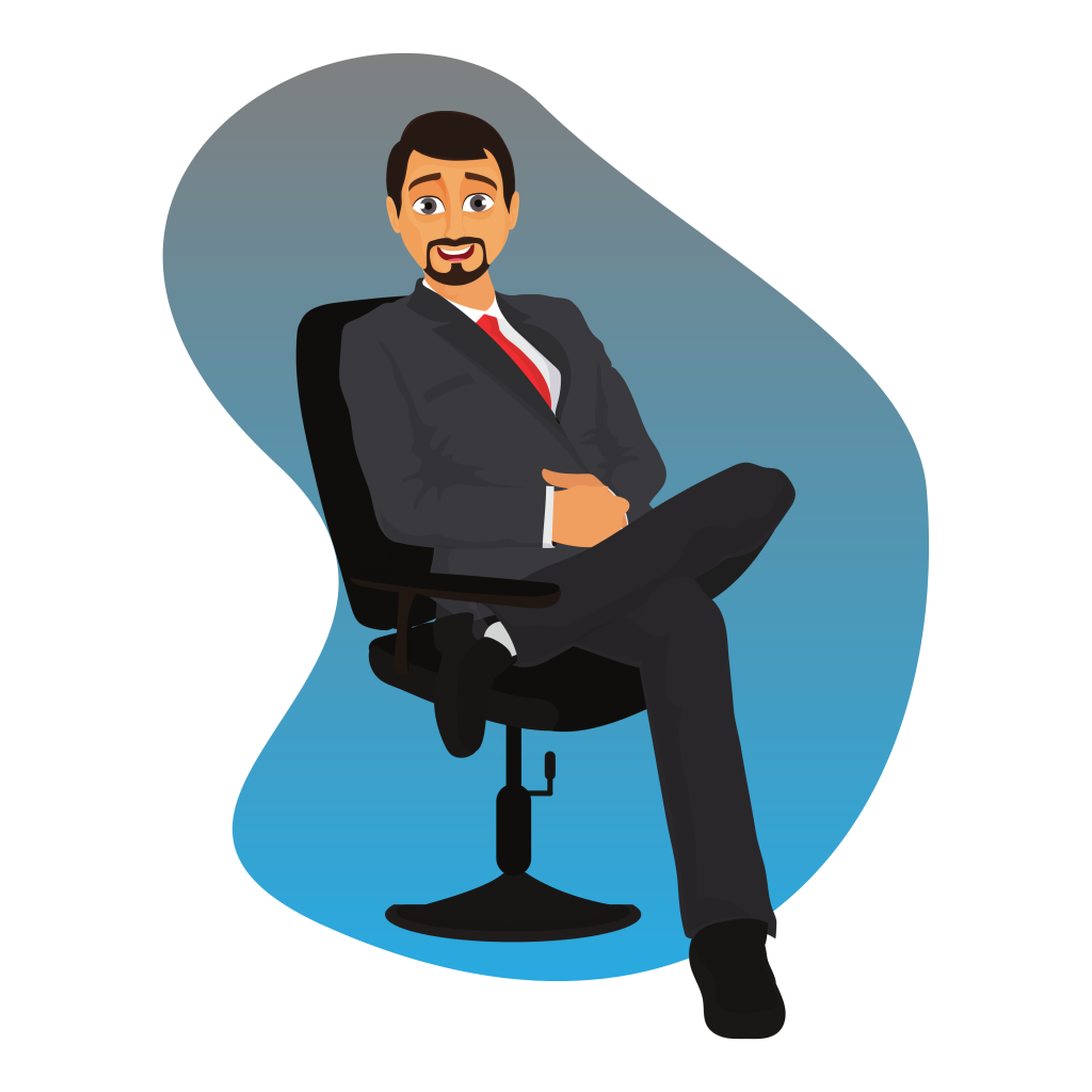 man sitting on chair contact us